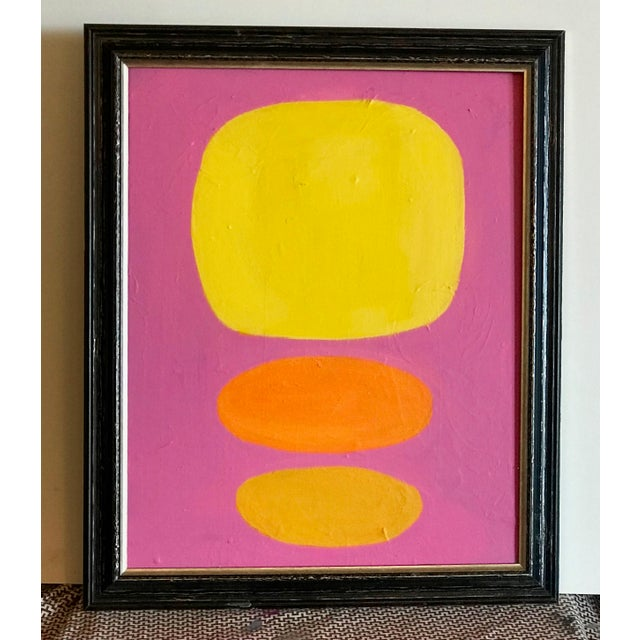2010s Modern Abstract Yellow Dots Painting For Sale - Image 5 of 5