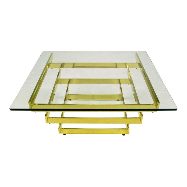 Architectural Stacked Solid Brass Bar & Glass Coffee Table For Sale