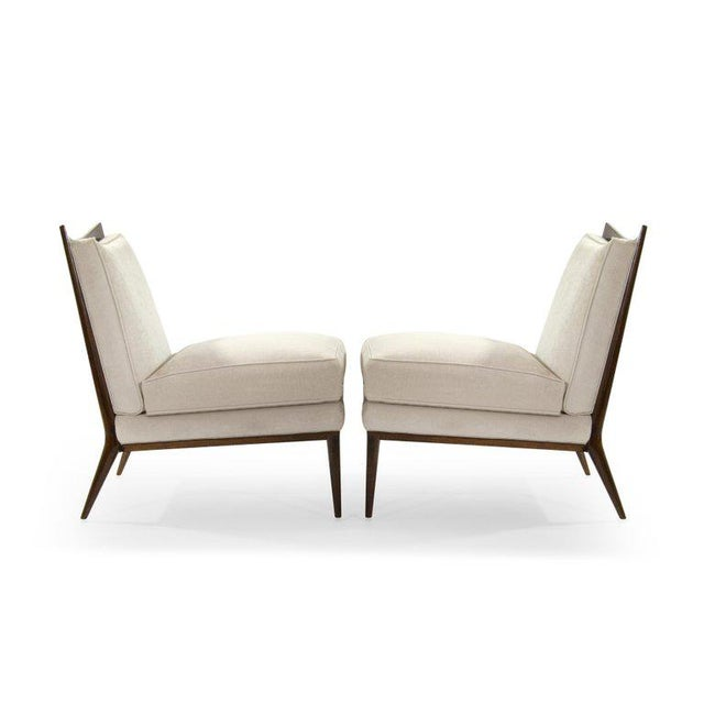 1950s Wanut Frame Slipper Chairs by Paul McCobb for Directional - a Pair For Sale - Image 5 of 12