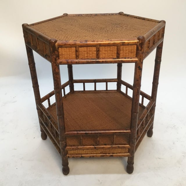 1960s Asian Bamboo Hexagonal Occasional Table For Sale - Image 10 of 10