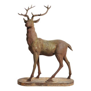 French Red Deer Statue For Sale