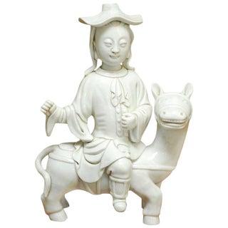 Chinese Dehua Blanc de Chine Porcelain Man on Horse For Sale