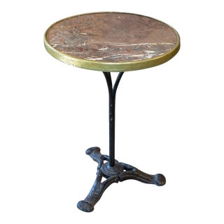 Antique French Bistro Table With Brown Marble & Brass Top on Iron Base For Sale