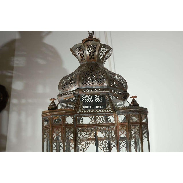 Islamic Large Vintage Moroccan Moorish Glass Light Fixture For Sale - Image 3 of 10