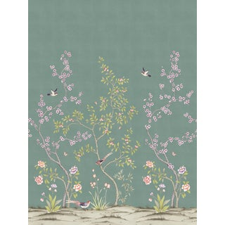Chinoiserie Garden, Antiqued Jade Wallpaper For Sale