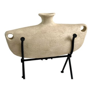 Terra-Cotta Pottery Vase on Iron Stand. Italy For Sale