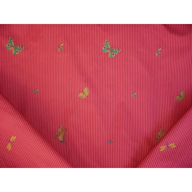 2010s Transitional Lee Jofa Farfalla Stripe Cherry Butterfly Bee Brocade Upholstery Fabric - 13-5/8y For Sale - Image 5 of 5