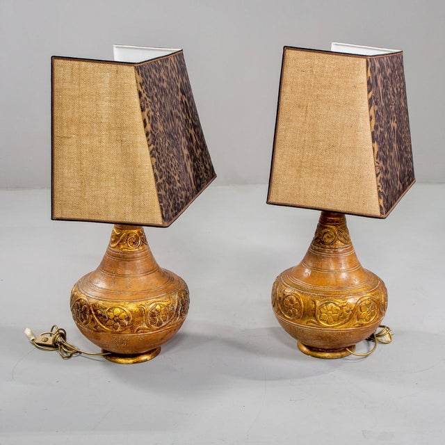 Italian Mid-Century Italian Terra Cotta Lamps With Leopard Print Shades - a Pair For Sale - Image 3 of 9