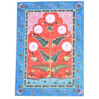 Bohemian Vintage Mughal Carpet Botanical Painting