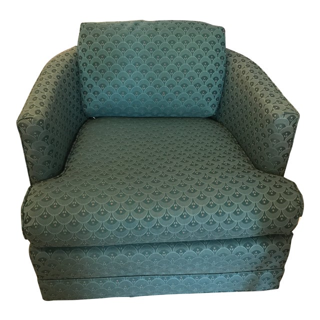 Teal Barrel Back Club Chair For Sale