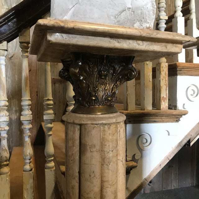 French 19th Century Marble & Bronze Pedestals Columns-a Pair For Sale - Image 3 of 11