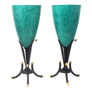 1950's Teal Fiberglass and Wrought Iron Torchiere Table Lamps - a Pair For Sale