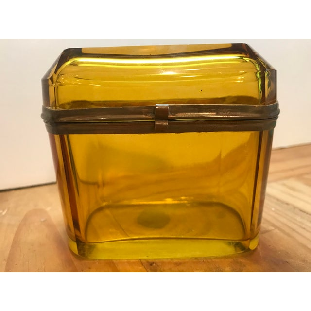 Metal 19th Century French Amber Glass Hinged Box For Sale - Image 7 of 7