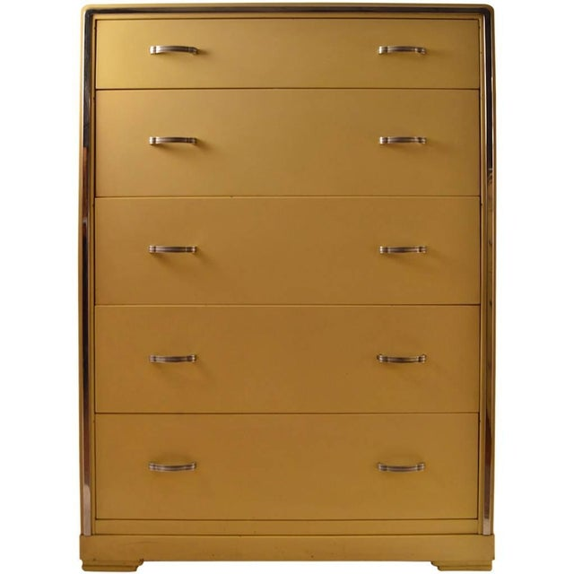 Metal Five-Drawer High Boy Chest Designed by Norman Bel Geddes for Simmons Furniture For Sale - Image 7 of 7