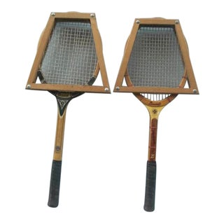 Vintage Tennis Racquets With Presses - a Pair For Sale