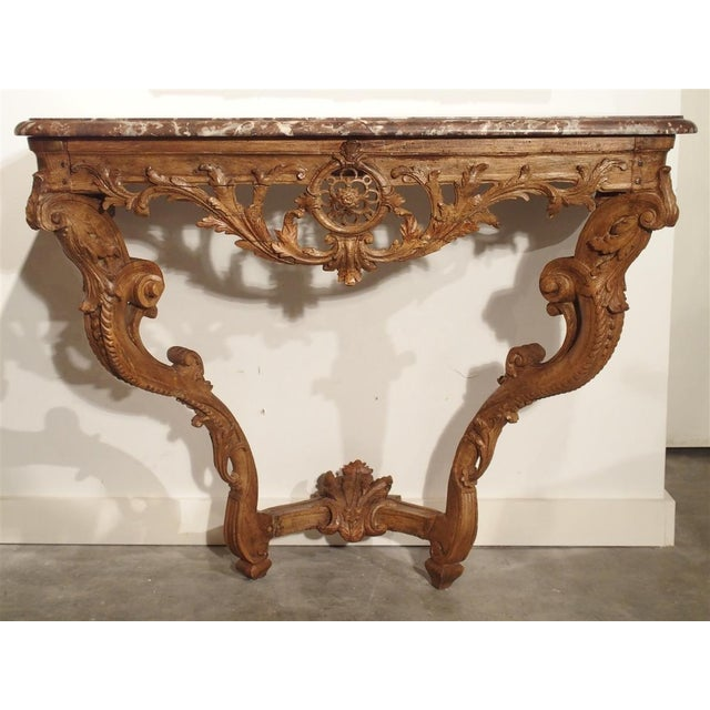 Early 18th Century Oak Regence Console With Rouge Marble Top For Sale - Image 12 of 13