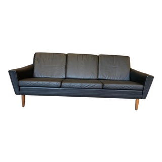 Vintage Mid-Century Danish Leather 3 Seat Sofa in the Style of Skipper Møbler For Sale