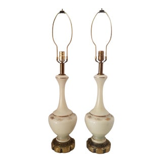 Vintage White Porcelain and Brass With Gold Gilt Hand Painted Details Table Lamps - a Pair For Sale
