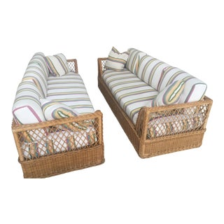 Vintage McGuire Rattan and Wicker Sofas - a Pair or Sold Individually For Sale