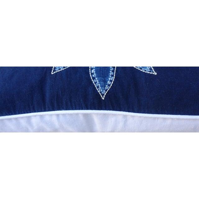 Rectangular Blue & White Batik Floral Pillow For Sale - Image 5 of 6