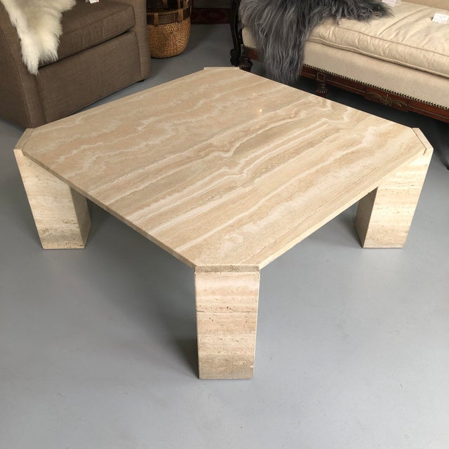 Sand 1970s Postmodern Travertine Coffee Table For Sale - Image 8 of 8
