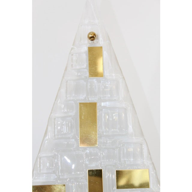Limited edition Italian modern wall lights or flush mounts with frosted triangular textured Murano glasses decorated with...