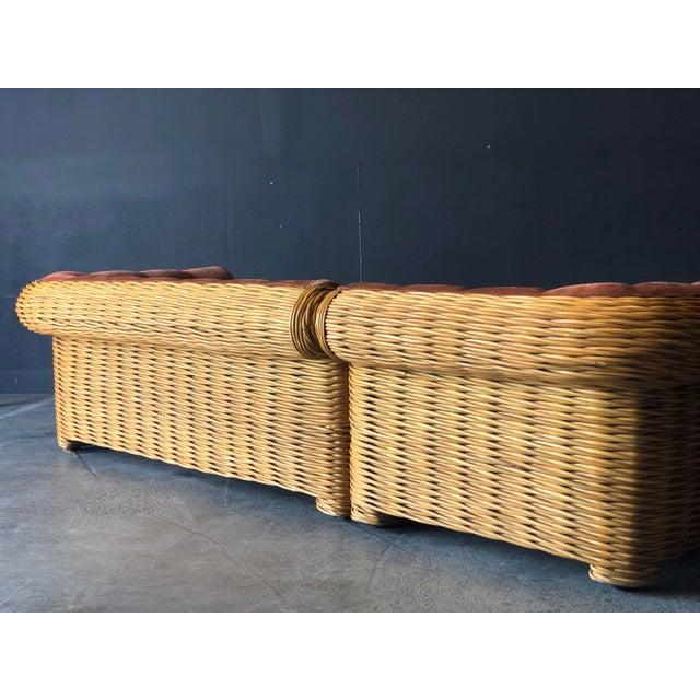 Rattan 4 Piece Modular Sofa For Sale - Image 4 of 13