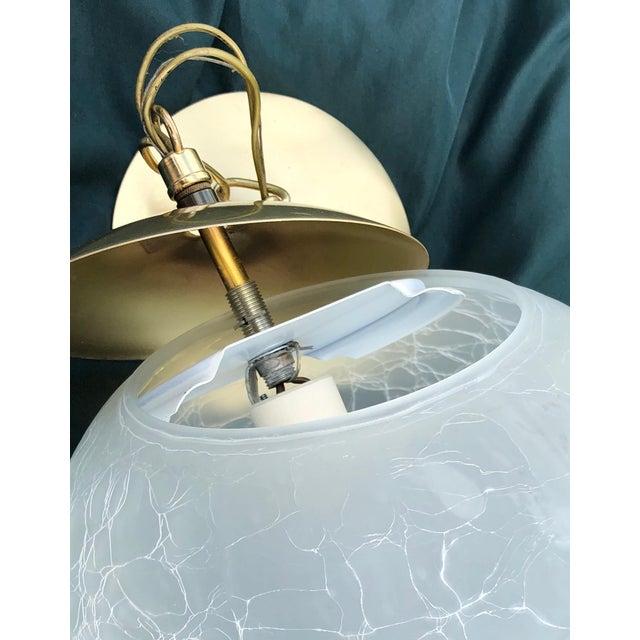 Moe Light Vintage Moe Light Crackled Etched Glass Pendant Globe Light For Sale - Image 4 of 8
