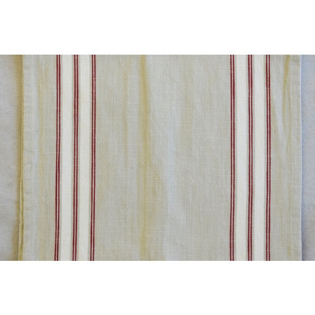 """French Farmhouse Red, White & Cream Striped Table Runner 110"""" Long For Sale - Image 4 of 7"""