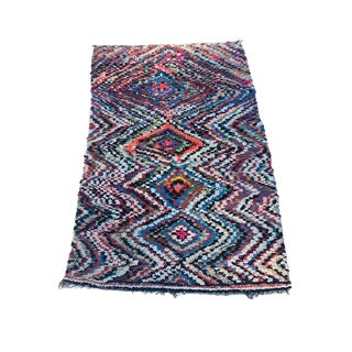 "Moroccan Neon Evil Eye Warped Diamond Shag Rug-4'10"" X 8'3"" For Sale"