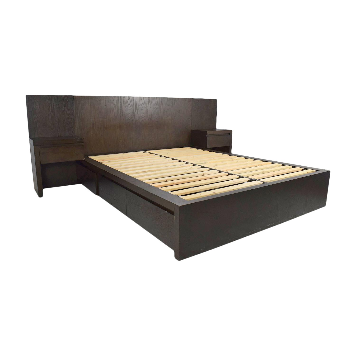 Ebony Stained Oak West Elm Full Size Captains Platform Bed W Storage Drawers Attached Nightstands Chairish