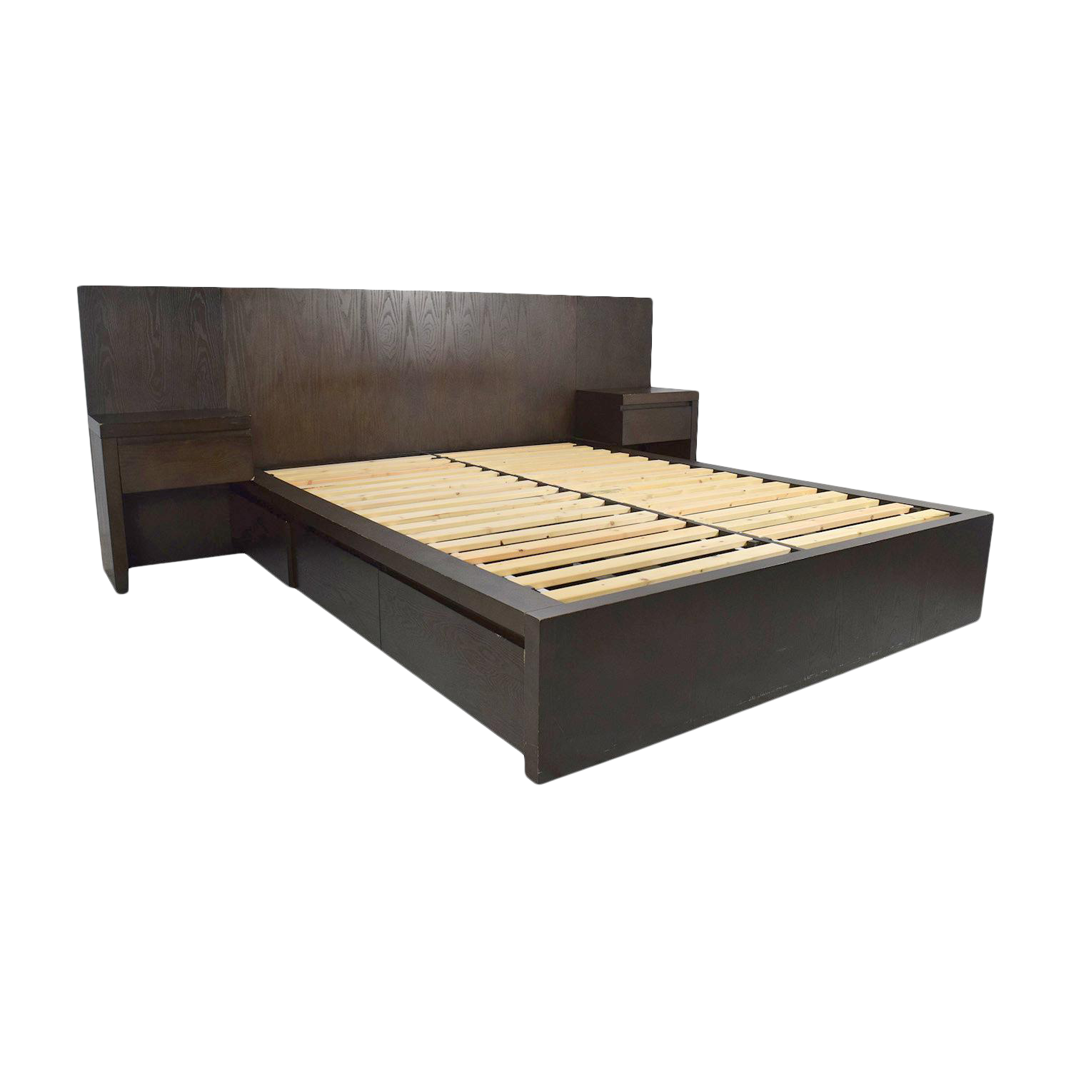 Picture of: Ebony Stained Oak West Elm Full Size Captains Platform Bed W Storage Drawers Attached Nightstands Chairish