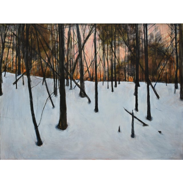 """Stephen Remick """"Sunrise in the Snowy Woods"""" Painting For Sale - Image 13 of 13"""