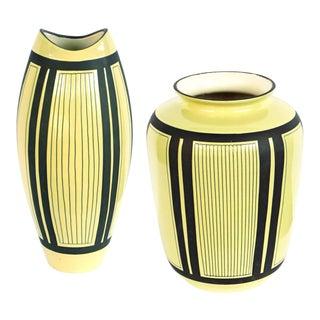 1950's Schlossberg Keramik Pale Chartreuse Glazed Vases - a Pair For Sale