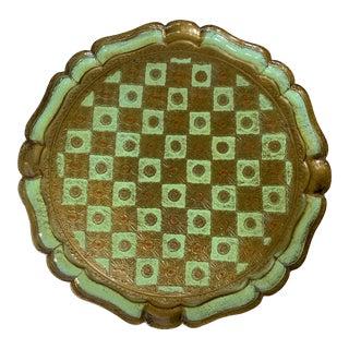Vintage Italian Florentine Round Celadon Tray For Sale
