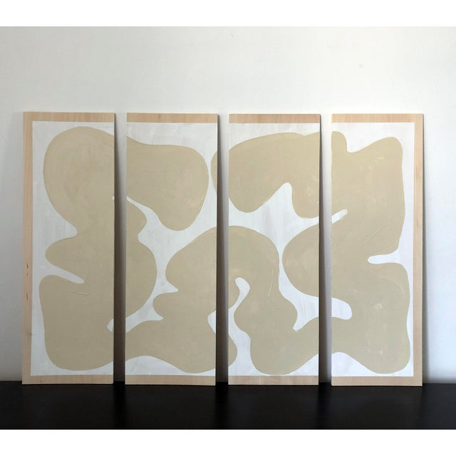 Wood Abstract Beige and White Quadriptych Painting - 4 Pieces For Sale - Image 7 of 7