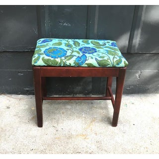 1940s Vintage Green & Blue Floral Upholstered Wooden Bench Preview