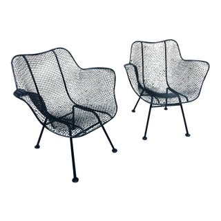 Russell Woodard Sculptura Wire Mesh Arm Chairs ~ a Pair For Sale
