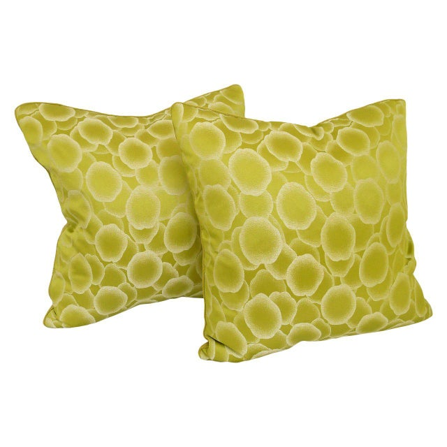 """""""Baccarat"""" pillow with chartreuse Trevira fabric on front & baby alpaca on back. Feather/down insert."""