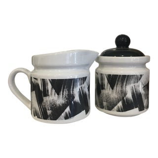 1980 Designer Creamer and Sugar Dishes - A Pair For Sale
