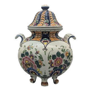 20th Century Delft Clawfoot Polychrome Lidded Urn For Sale