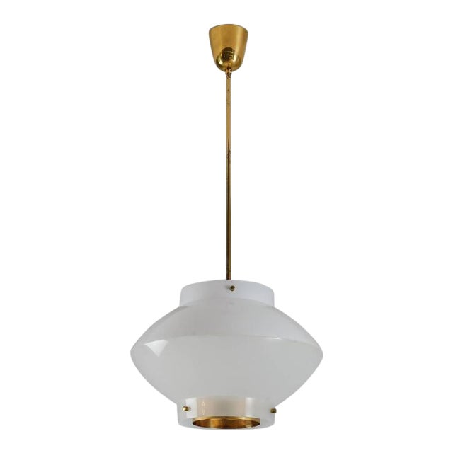 Yki Nummi White Plexiglass and Brass Pendant for Orno, Finland, 1960s - 2pcs For Sale