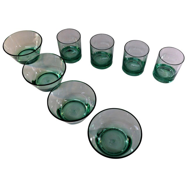 Retro Style Acrylic Green Glassware Set For Sale