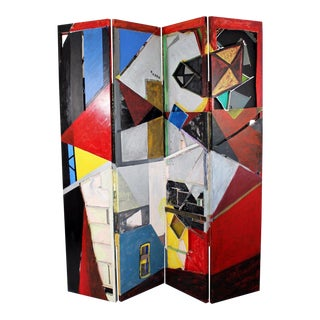 Contemporary Modern Abstract Painted Art Folding Room Divider Screen by Antonow For Sale