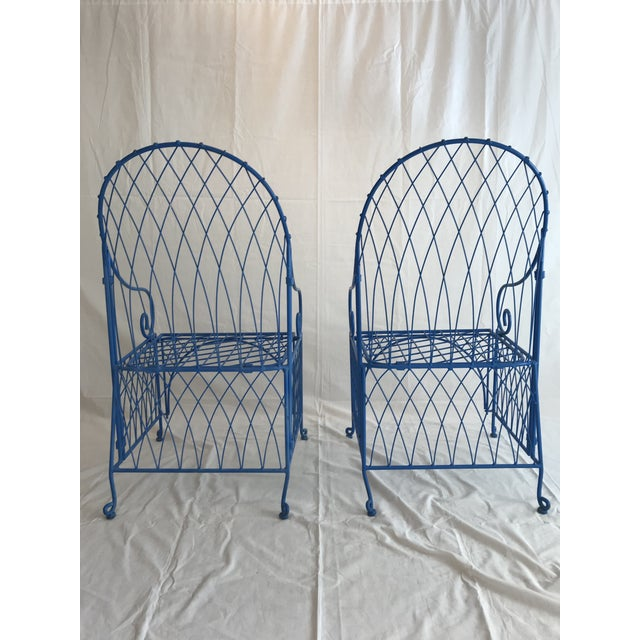 Vintage Italian Iron Folding Chairs - A Pair For Sale In Los Angeles - Image 6 of 9