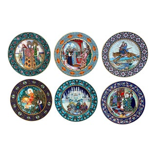 Villeroy and Boch Heinrich Russian Fairy Tale Plates, Illustrated by Boris Zvorykin - Set of 6 For Sale