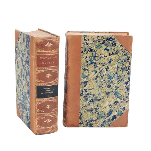 """Set of 10 English leather and marbleized paper """"Waverly Novels"""" written by Sir Walter Scott. Complete length of set is..."""