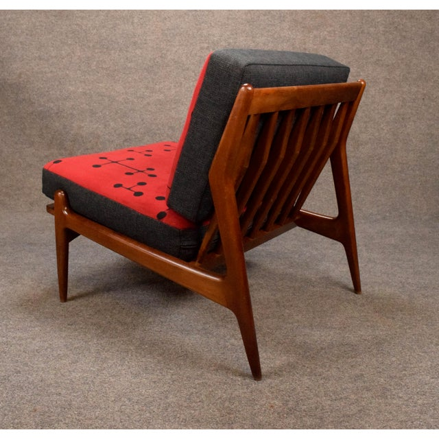 1960s Mid Century Modern Kofod Larsen for Selig Red and Black Slipper Chair For Sale In San Diego - Image 6 of 13