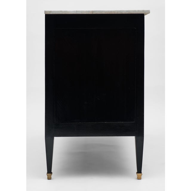 Metal Louis XVI Style Antique Ebonized Chest with Carrara Mable Top For Sale - Image 7 of 10