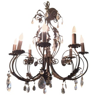 Italian Wrought Iron and Crystal Chandelier For Sale